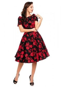 0aedf07d123d Darlene Retro Floral Swing Dress Black Red Cute swingdress in beautiful  black and red floral print. It features a wide fitted waistband and full  circle ...