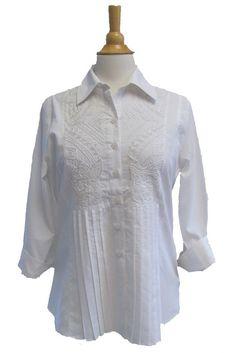 Bleu Bayou 3/4 sleeve white blouse and white Beading