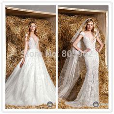Mais novo da sereia Zuhair Murad 2015 V Neck ver através vestido de casamento branco com removível saia de tule vestido de noiva com trem N108