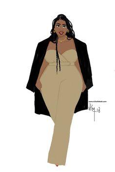 black women curves line Black Girl Art, Black Women Art, Black Girl Magic, Art Girl, African American Art, African Art, Plus Size Art, Black Art Pictures, Moda Chic
