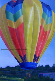 Morning Hot Air Balloon Ride at Sunrise! Nice Colorful Acrylic Painting on heavy watercolor paper measuring 20 High and 14 wide unframed and approx. 29 x 23 framed $275