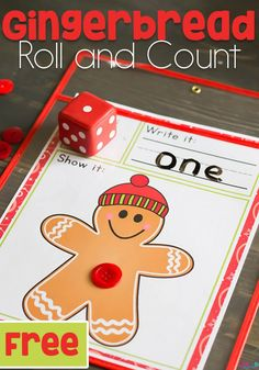 We love gingerbread men! This simple free printable gingerbread man roll and count math game for kindergarteners is perfect for Christmas! Kids love rolling the dice, writing the numbers and counting the buttons.  #mathgameforkids #christmasmath #gingerbreadactivities via @lifeovercs