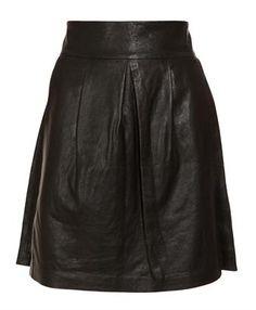 Edgy romance? Leather A-line skirt