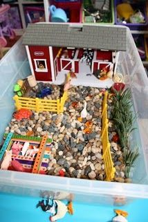 """Farm"" Sensory Tub - gravel or dried corn, farm toys, plastic animals"