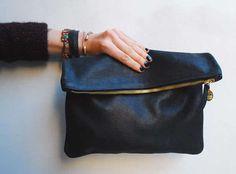 Clare Vivier Black Nubuck Leather Foldover Clutch Bag