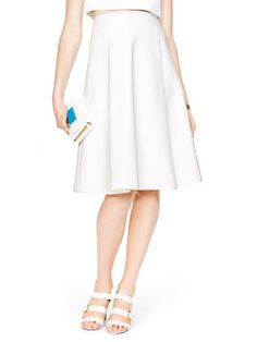 madison ave. collection compact cotton lysa skirt, fresh white