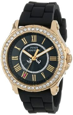 cool Juicy Couture Women's 1901069 Pedigree Black Silicone Strap Watch