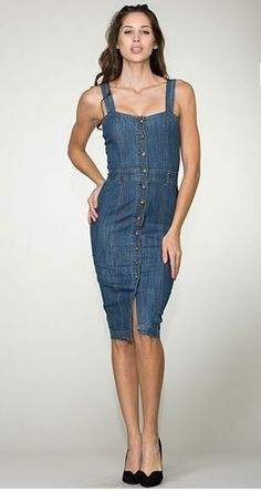SEXY CUTE FITTED BUTTON DOWN DENIM DRESS SLEEVELESS BOTTOM PENCIL SKIRT S M L in Dresses | eBay