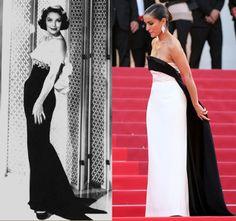 """Loretta Young posa con un diseño de Alta Costura en blanco y negro del diseñador William Travillia.  Inma cuesta lució un elegante vestido de la firma Antonio Garcia Estudio para la presentación de """"Julieta"""" en la pasada edición del Festival de Cine de Cannes."""