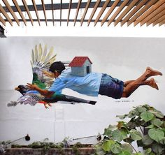 """by Jade - """"El vuelo"""" - Commissioned wall in Lima, Peru - March 2016"""