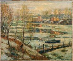 Ernest Lawson (Canada 1873-1939 USA) Ice in the River (c. 1907) oil on canvas mounted on wood
