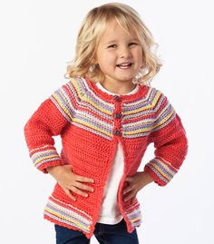 'Cutie Bug Cardi', free downloadable crochet pattern from Premier Yarns
