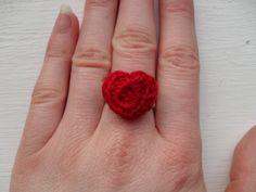Valentine's heart crochet ring by YellowSherbet on Etsy, £6.00