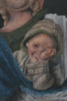 Nancy Spooner, baby in knapsack, oil pastel