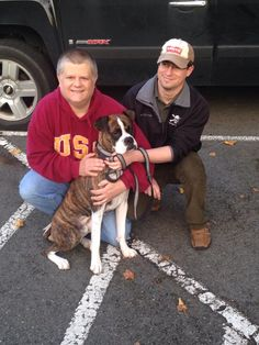 """Sonny found his forever home tonight with Steven and James!! Sonny gave kisses and loves and you could see right away he will be very loved. They plan on doing some basic training with him to get him through his """"teenage years""""  and are excited to have another boxer in the home after losing their 13yr old boxer recently. Congratulations!!"""
