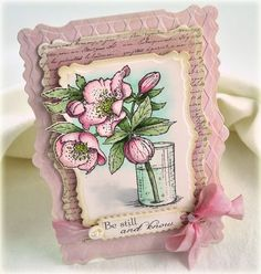 """beautiful handmade card .... lots of die cutting with new Spellbinders dies ... Debbie explains her special techniques on her blog ... luv this card and the """"over-the-edge"""" die cutting ..."""