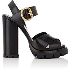 Prada Women's Lug-Sole Leather Platform Sandals (30,300 THB) ❤ liked on Polyvore featuring shoes, sandals, black, leather strap sandals, black high heel sandals, strappy high heel sandals, black sandals and black leather sandals