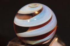"Handmade Boro Ribbon Core Swirl Marble 7/8"" Art Marbles by Christopher Delp"