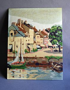 Vintage Paint By Numbers Painting, Harbor Scene