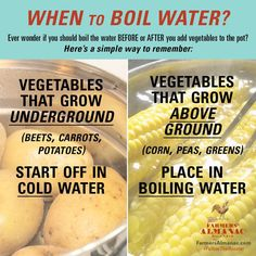 Handy advice on the correct method for boiling vegetables.
