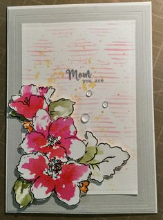 Mother's Day card using Altenew Hibiscus Bouquet stamps with distress inks in shabby shutters, forest moss, picked raspberry and spiced marmalade. Background is Altenew stencil sketched lines using distress oxide ink in worn lipstick and spiced marmalade splatters. Sentiment is from the Hero Arts April 2017 month kit. Flowers and leaves are fussy cut. Used Pretty Pink Posh droplets for finishing touch. Hibiscus Bouquet, Altenew Cards, Persian Motifs, Pretty Pink Posh, Distress Oxide Ink, Hero Arts, Palm Springs, I Card, Card Ideas