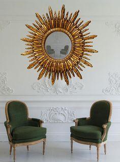 Antique Gold Colour Mirror Sunburst Mirror Hollywood Regency Gold Framed Mirror, Eclectic Design, Living Room Ideas Uk, Hollywood Regency Decor, Hollywood Regency Mirror, Gold Mirror Wall, Long Living Room, Sunburst Mirror, Sunburst
