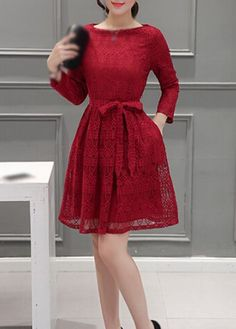 Wine Red Lace Long Sleeve Fit and Flare Dress
