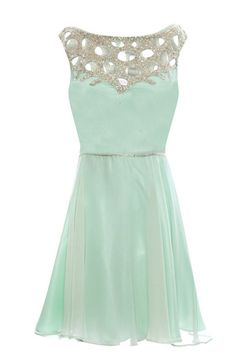 Cute Scoop A-Line Short Sleeveless Mint Homecoming Dress with Beading a79461ed3