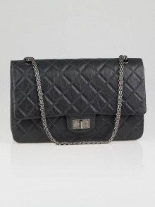 Chanel Dark Grey 2.55 Reissue Quilted Classic Leather 227 Jumbo Flap Bag 2012