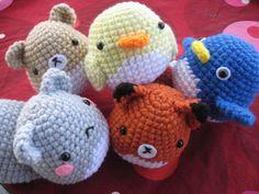 Amigurumi Squirrel, Fox, Hamster, Chick, and Penguin by Charissa Gascho