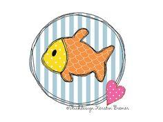 Fisch Button ♥ Doodle Stickdatei für eine Stickmaschine. Doodle fish appliqué machine embroidery design.