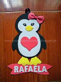 Prendas Artesanais: Placa para porta - Pinguim