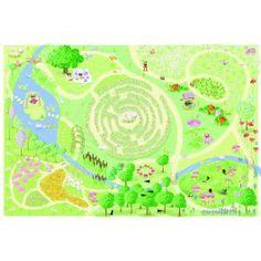 Le toy van speelkleed feeën tuin. Met een riviertje, bloemenperken en een doolhof.