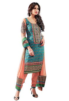 Teal Cotton Salwar Kameez Indian Suits, Indian Dresses, Indian Wear, Ethnic Fashion, Indian Fashion, Casual Outfits, Girl Outfits, Desi Wear, Ethnic Style