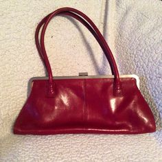 Vintage Red Leather Hobo International Clutch Handbag on Etsy, $30.00