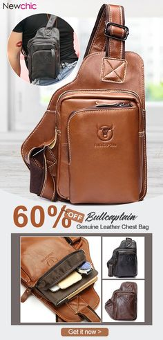 4caaed4cd [60%off]Bullcaptain Men Business Genuine Leather Casual Outdoor Chest Crossbody  Bag Shoulder