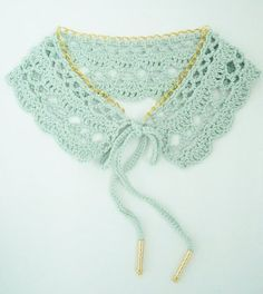 Crochet lace - Peter Pan collar in mint and gold, completed item to buy from ThreadBear Col Crochet, Crochet Lace Collar, Thread Crochet, Crochet Scarves, Crochet Shawl, Crochet Yarn, Crochet Clothes, Crochet Stitches, Crochet Patterns