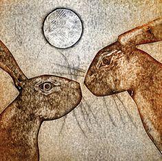 They Meet collagraph print by Kerry Buck Hare Illustration, Animal Illustrations, Rabbit Art, Bunny Rabbit, Collagraph, Photo Projects, Wildlife Art, Printmaking, Moose Art