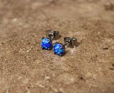 Fire Opal studs Earrings, Blue Opal with 316L Surgical Steel Post, hypoallergenic earrings 4mm,5mm by Purityjewel on Etsy https://www.etsy.com/listing/215243125/fire-opal-studs-earrings-blue-opal-with
