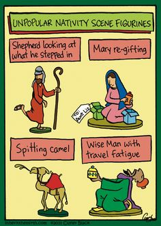 Inherit the Mirth by Cuyler Black, Dec 23 - Unpopular nativity scene figurines Christian Comics, Christian Cartoons, Funny Christian Memes, Christian Humor, Funny Cartoons, Funny Comics, Church Jokes, Religious Humor, Jewish Humor