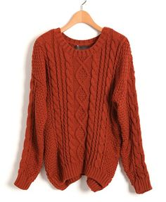 Chunky Cable Knit Jumper in Orange