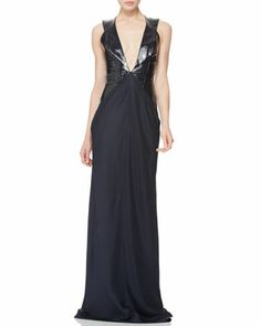 Plunging Patent-Bodice Gown by Cushnie et Ochs.  Who thought navy could be so sexy!