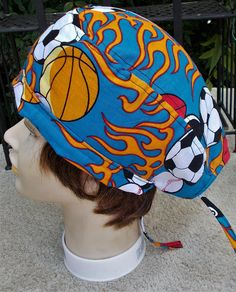 FLAMING SPORTS BALLS Cotton Ladies Men Scrub Cap Surgical Hat 6be723641c6