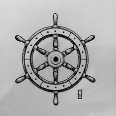 geometric dotwork tattoo #ship's wheel#tattoo#