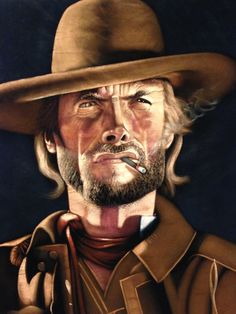 "The Good, the Bad, the Ugly, 24 x 30 hand painted velvet of  ""The Cowboy -Clint Eastwood """