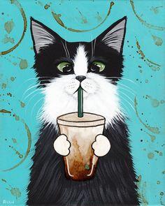 Tuxedo Cat with Iced Coffee Original CAT Folk Art Painting by KilkennycatArt
