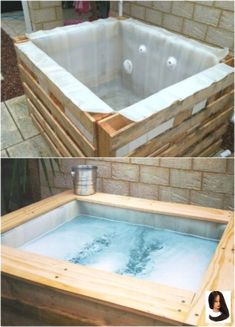 DIY Upcycled Pallet Hot Tub is perfect for the DIY guru who wants to try a fun new project! Hot tubs are great for relaxing and this DIY version is a fun one to have! sauna whirlpool 12 Relaxing And Inexpensive Hot Tubs You Can DIY In A Weekend Diy Upcycled Pallets, Diy Pallet, Pallet Ideas, Pallet Patio, Outdoor Pallet, Jacuzzi Outdoor, Diy Hottub, Outdoor Baths, Outdoor Kitchen Countertops