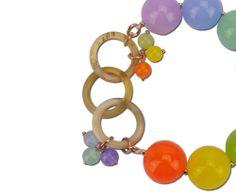 Nuovo bracciale con giade colorate e corno di bufalo Kyria style