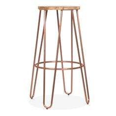 Cult Living 76cm Vintage Copper Hairpin Stool with Natural Seat   Cult