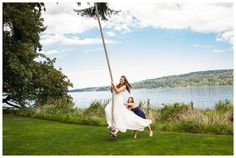 Rope Swing Bride | Waterfront Wedding Venue | The Edgewater House | Backlighting | Four Foot Photography | Kitsap County Wedding Photographer | Beachfront Wedding